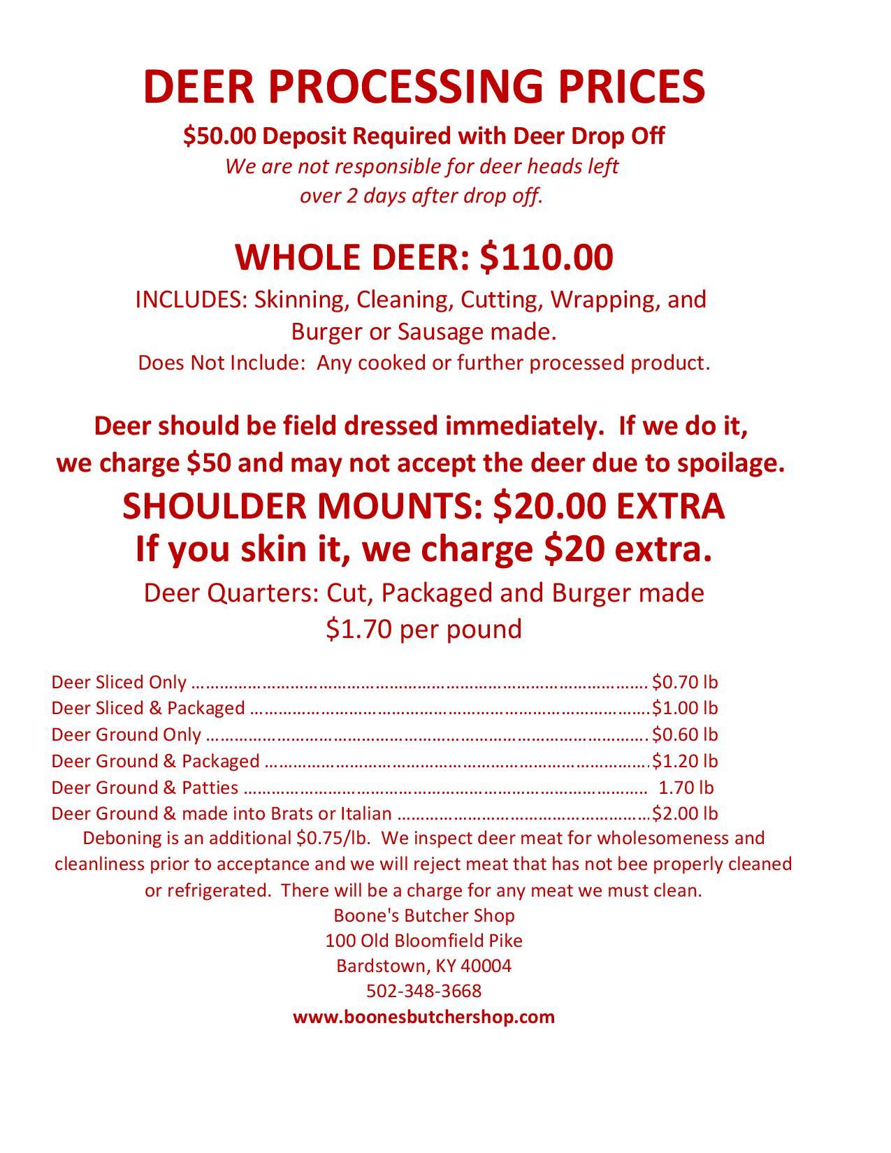 Deer Processing Chart Venison Cuts Diagram Boones Butcher Shop Bardstown Kentucky
