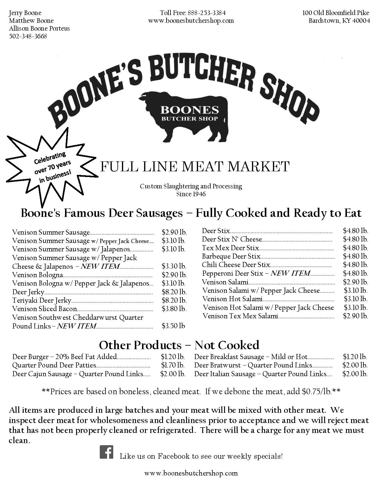 Boone 39 s butcher shop bardstown kentucky for Kentucky fish and wildlife phone number